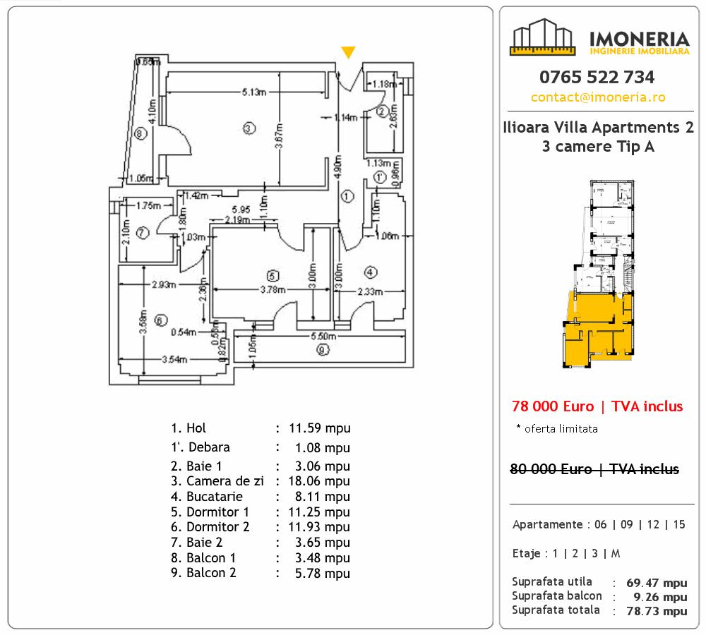 Apartamente de vanzare Ilioara Villa Apartments 3 - 3 camere tip A