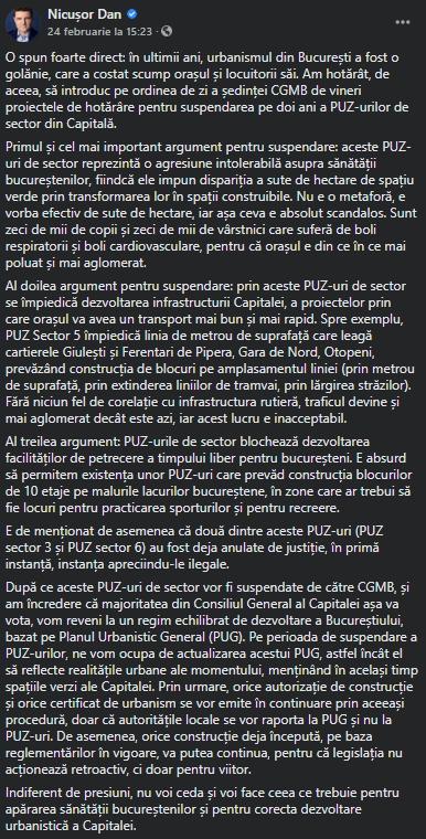 Suspendare PUZ Bucuresti - Nicusor Dan